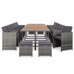 Outdoor Dining Set, 17 Piece, with Cushions, Poly Rattan, Steel, Anthracite