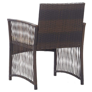 Garden Armchairs with Cushions, Poly Rattan, Brown (Set of 2)