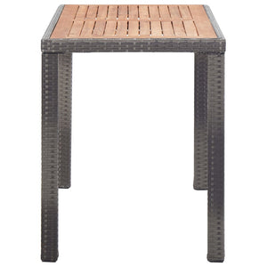 Garden Table, Solid Acacia Wood, Anthracite and Brown, 123x60x74cm
