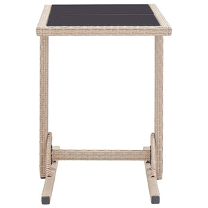Garden Table, Glass and Poly Rattan, Beige, 110x53x72cm