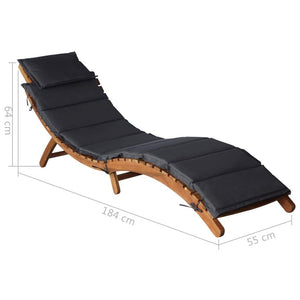 Sun Lounger, with Cushion and Back Pillow, Solid Acacia Wood, Dark Grey