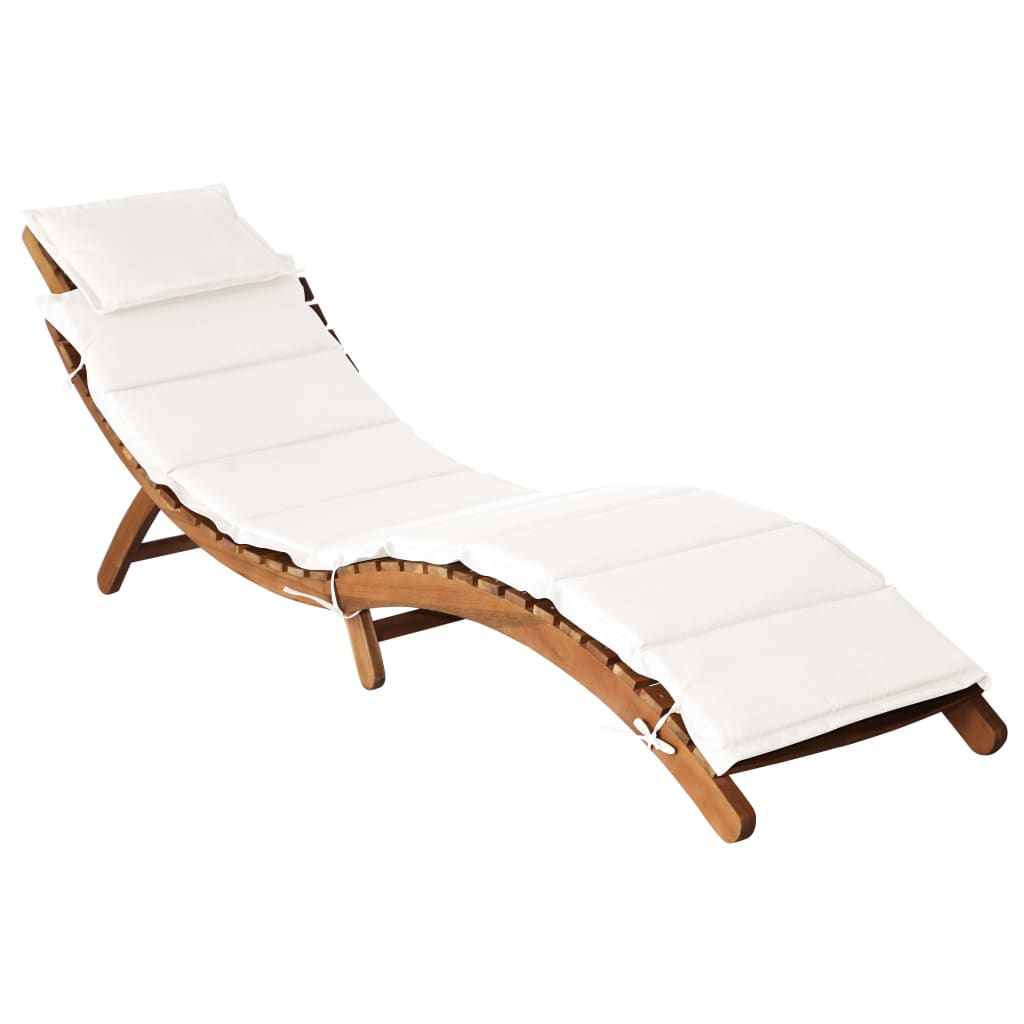 Sun Lounger, with Cushion and Back Pillow, Solid Acacia Wood, Cream