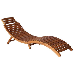 Sunlounger, with Table, Solid Acacia Wood, Brown