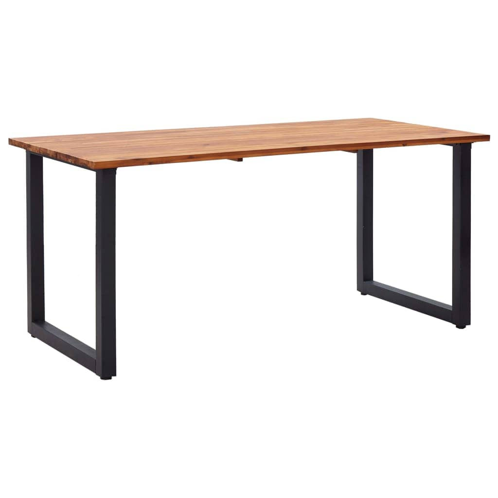 Garden Table with U-shaped Legs, Solid Acacia Wood, Oil Finished, 160x80x75cm