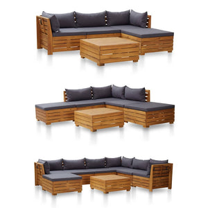 Sectional Middle Sofa, with Cushions, Solid Acacia Wood, 1 Piece