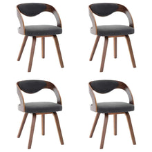 Load image into Gallery viewer, Dining Chairs, Bent Wood and Faux Leather, Dark Grey and Dark Brown (Set of 4)