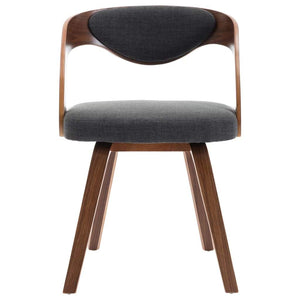 Dining Chairs, Bent Wood and Faux Leather, Dark Grey and Dark Brown (Set of 4)