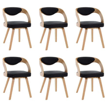 Load image into Gallery viewer, Dining Chairs, Bent Wood and Faux Leather, Black and Light Brown (Set of 6)