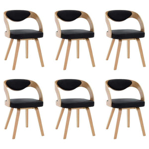 Dining Chairs, Bent Wood and Faux Leather, Black and Light Brown (Set of 6)