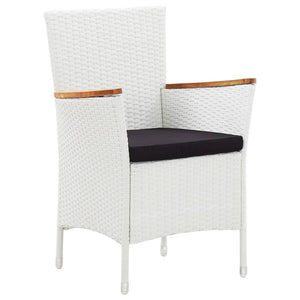 Outdoor Dining Set, 5 Piece, Poly Rattan, Powder Coated Steel, White