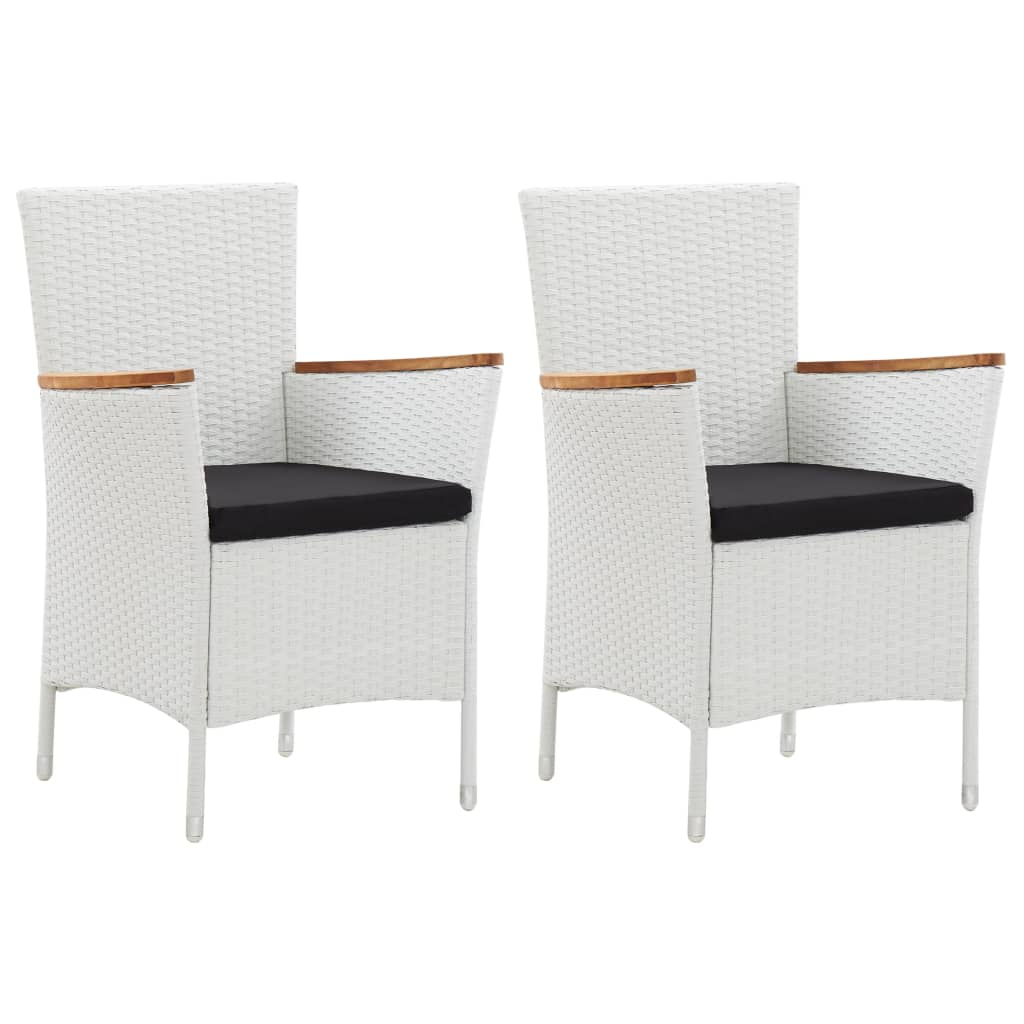 Garden Chairs, Poly Rattan, White (Set of 2)