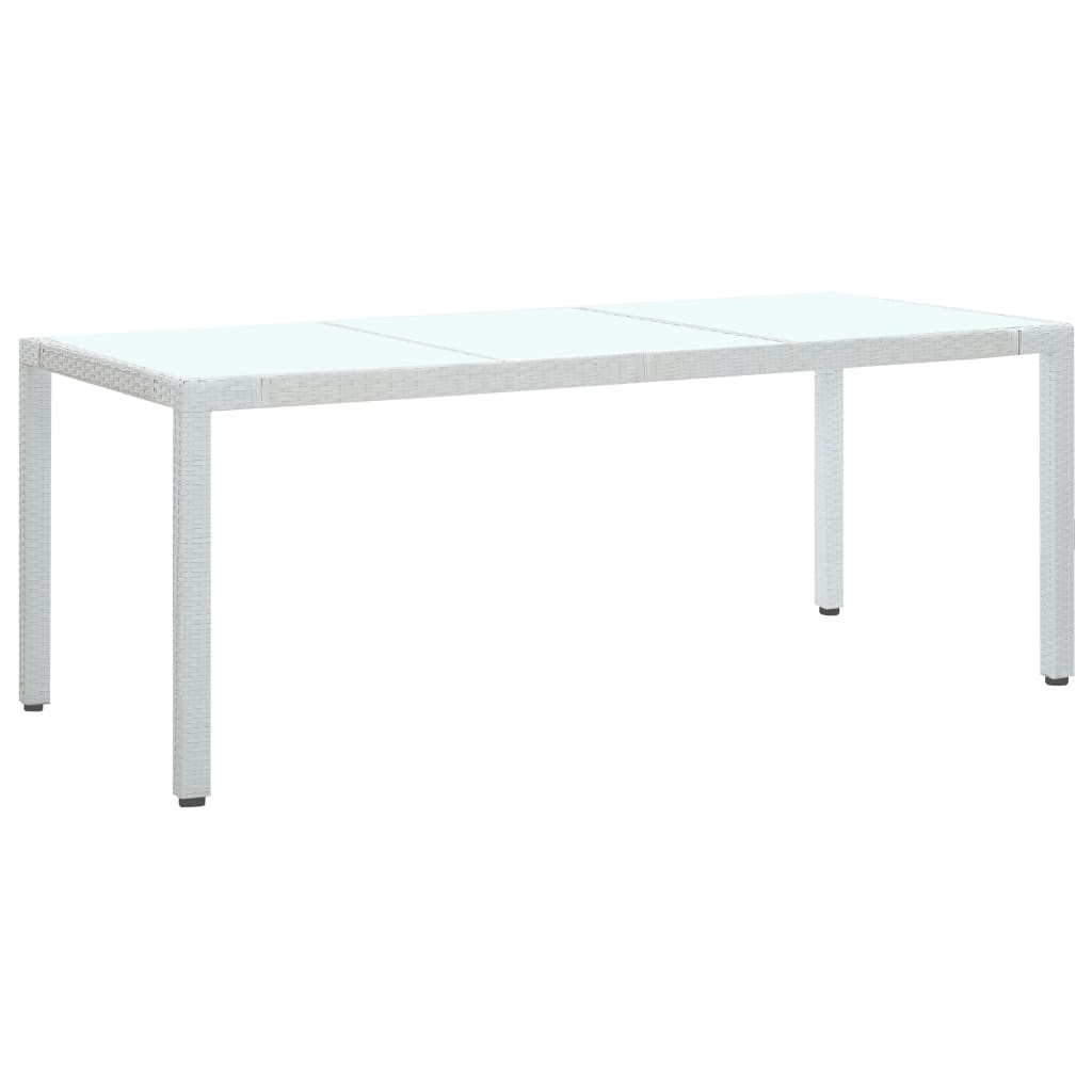Garden Table, Poly Rattan, White, 190x90x75cm