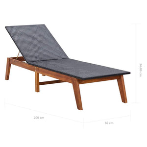 Sun Lounger with Table, Poly Rattan and Solid Acacia Wood