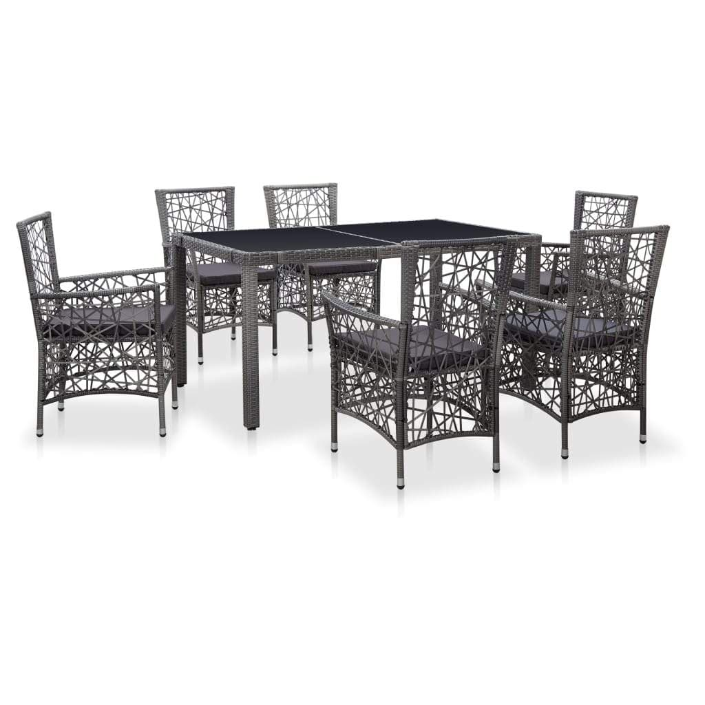 Outdoor Dining Set, Poly Rattan, (7 Piece)