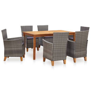 Dining Set, Poly Rattan and Solid Acacia Wood, Grey (7 Piece)