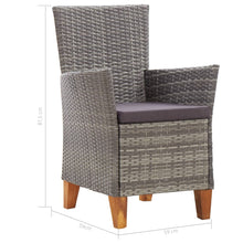 Load image into Gallery viewer, Dining Set, Poly Rattan and Solid Acacia Wood, Grey (7 Piece)