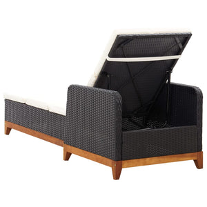 Sun Lounger, Poly Rattan and Solid Acacia Wood, Black