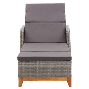 Sun Lounger, Poly Rattan and Solid Acacia Wood, Grey