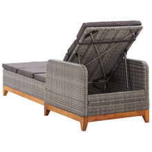 Load image into Gallery viewer, Sun Lounger, Poly Rattan and Solid Acacia Wood, Grey