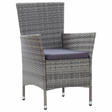 Load image into Gallery viewer, Outdoor Dining Set with Cushions, Poly Rattan, Grey and Dark Grey (7 Piece)