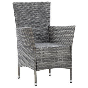 Outdoor Dining Set with Cushions, Poly Rattan, Grey and Dark Grey (7 Piece)