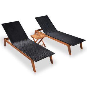 Sun Loungers with Table, Poly Rattan and Solid Acacia Wood (Set of 2)