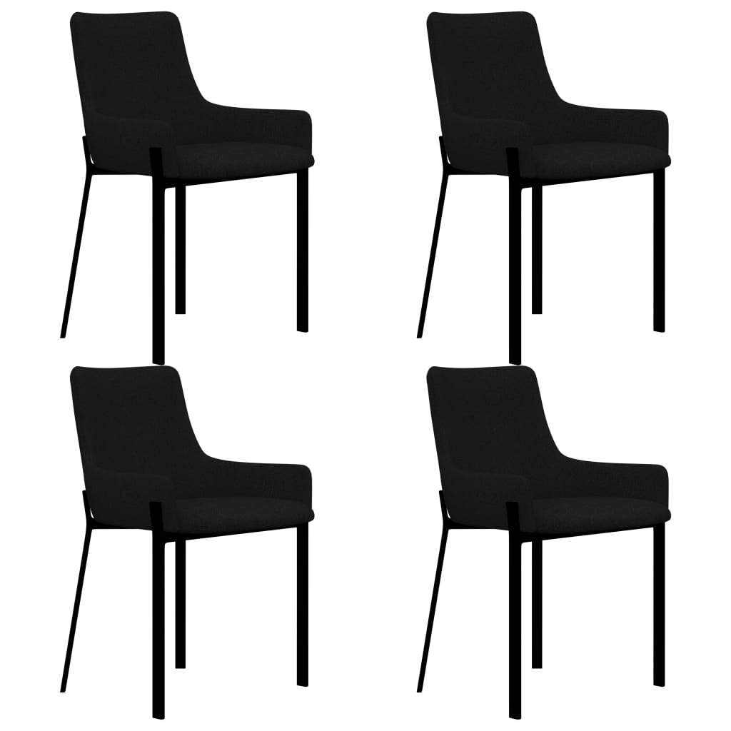 Dining Chairs, Fabric, Powder Coated Metal Legs, Black (Set of 4)