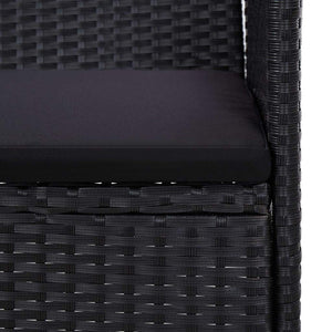 Garden Bench, Poly Rattan, Black, 103cm