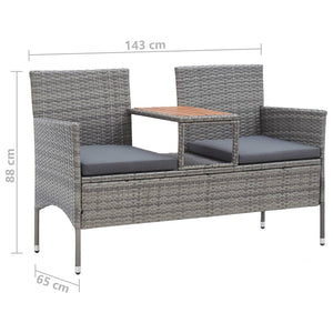 Garden Bench with Tea Table, Poly Rattan, Grey, 143cm