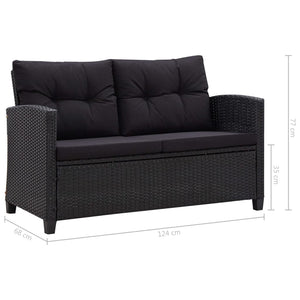 Garden Sofa with Cushions, Poly Rattan, Black, 124cm, 2-Seater
