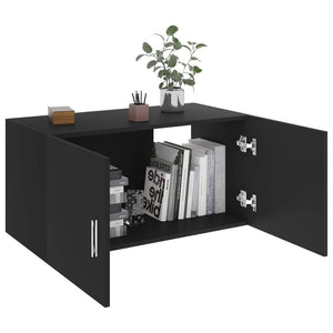 Cabinet, Wall-Mounted, Wood, Black, 80x39x40cm