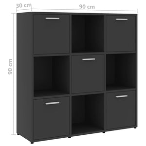 Book Cabinet, Chipboard, Grey, 90x30x90cm