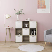Load image into Gallery viewer, Book Cabinet, Chipboard, White and Sonoma Oak, 90x30x90cm