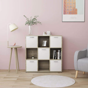 Book Cabinet, Chipboard, White and Sonoma Oak, 90x30x90cm