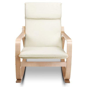 Rocking Armchair, Fabric, Beige