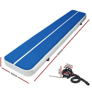AirTrack Mat, Inflatable, with Pump, Blue, 6 x 1m
