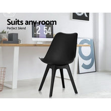 Load image into Gallery viewer, Eames DSW Dining Chairs, Leather, Black (Set of 4)