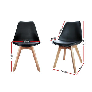 Eames DSW Dining Chairs, Leather, Black Seat, Beech Wooden Legs (Set of 4)