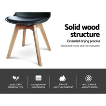Load image into Gallery viewer, Eames DSW Dining Chairs, Leather, Black Seat, Beech Wooden Legs (Set of 4)