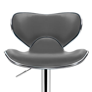 Disa Bar Stools, Leather, Grey (Set of 2)