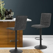 Load image into Gallery viewer, Chloe Bar Stools, Leather, Grey (Set of 2)