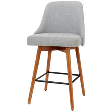 Load image into Gallery viewer, Artiss 2x Wooden Bar Stools Swivel Bar Stool Kitchen Cafe Fabric Light Grey