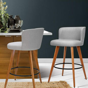 Bourleigh Rounded Bar Stools, Fabric, Light Grey (Set of 2)