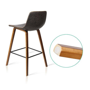 Crinkled Don Bar Stool, Leather, Walnut