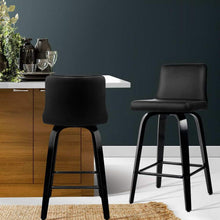 Load image into Gallery viewer, Arie Bar Stools, Leather, Black & Walnut (Set of 2)