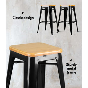 Tolix Bar Stool, Bamboo, Black (Set of 2)