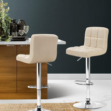 Load image into Gallery viewer, Swivel Bar Stools, Leather, Beige (Set of 2)