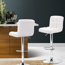 Load image into Gallery viewer, Swivel Bar Stools, Leather, White (Set of 2)