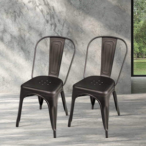 Classic Dining Chairs, Steel, Gunmetal (Set of 4)