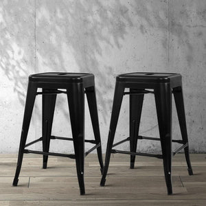 Replica Tolix Bar Stools, Metal, Black (Set of 4)
